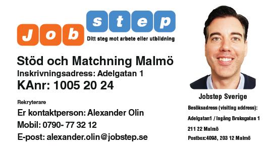 Visitkort Jobstep personlig Alexander Olin Adelgatan 1 Malmö ny