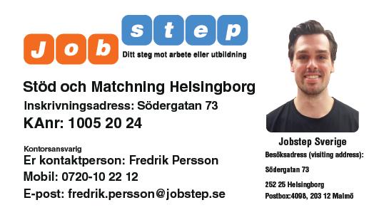 Visitkort Jobstep personlig Fredrik Persson Helsingborg ny