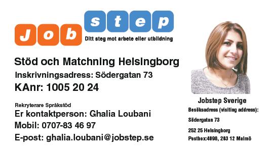 Visitkort Jobstep personlig Ghalia Loubani Helsingborg ny