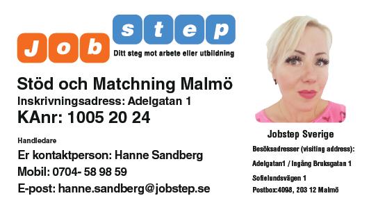 Visitkort Jobstep personlig Hanne Sandberg Malmö ny