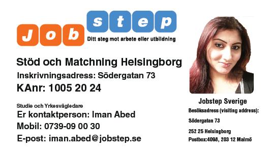 Visitkort Jobstep personlig Iman Abed Helsingborg ny