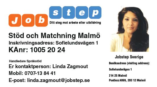 Visitkort Jobstep personlig Linda Zagmout Malmö ny