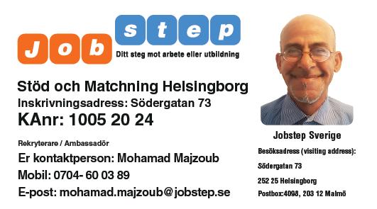 Visitkort Jobstep personlig Mohamad Majzoub Södergatan 73 Helsingborg ny