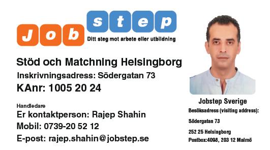 Visitkort Jobstep personlig Rajep Shahin Helsingborg ny