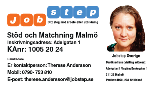 Visitkort Jobstep personlig Therese Andersson Adelgatan 1 Malmö ny